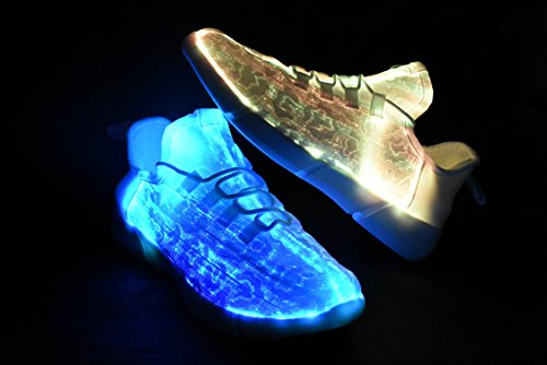 low cost online ROXY ROSE Fiber-Optic Light Shoes White LED Flashing Sneakers For Kids & Women Festivals Running Shoes White collections for sale V8o49WDhAk