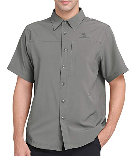CAMEL CROWN Men's Quick Dry Shirts Short Sleeve UV Sun Protection Shirts Breathable Button Down Fishing Shirts for Outdoors, Hiking, Camping, Travel