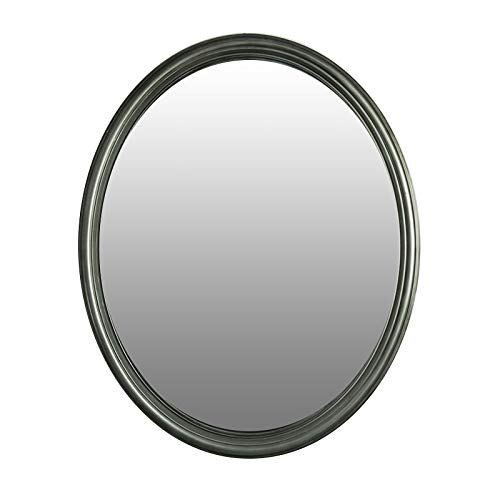 Mirrors and More Wyndham Brushed Nickel Framed Oval Non Bevel Bath Mirror -