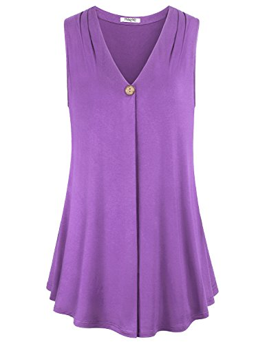 Women Tops and Blouses,Hibelle Business Casual Clothes Sleeveless V Neck A Line Flattering Office Flows Tunic Tank for Lady Purple Medium