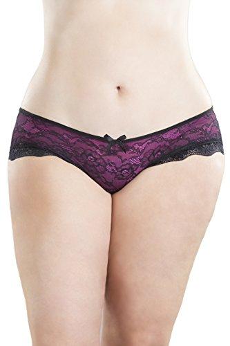 Oh la la Cheri Women's Lace Overlay Cage Panty (1X/2X, Black/Pink)