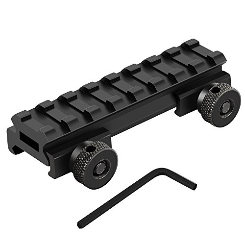 Flat Riser (Riser Mount, Medium Profile 1/2 Inch Picatinny Weaver Rail Flat Top Riser Mount for Scopes and Optics, 3.3