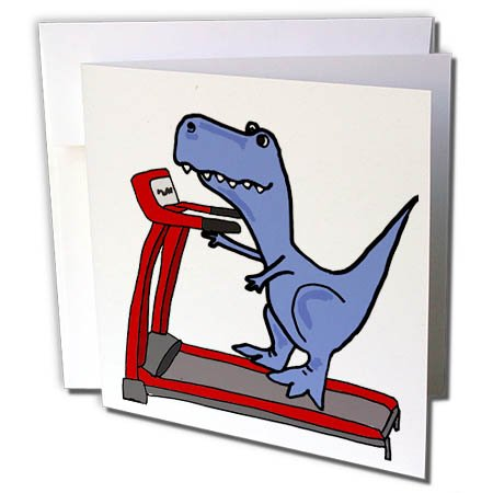 (3dRose Greeting Card Funny Cute T-Rex Dinosaur on Treadmill Exercise Cartoon, 6 x 6