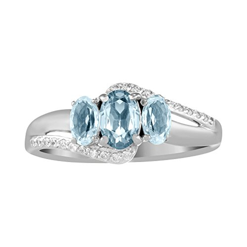 (ArtCarved Beauty Simulated Aquamarine Birthstone Women's Ring, Sterling Silver, Size 7)