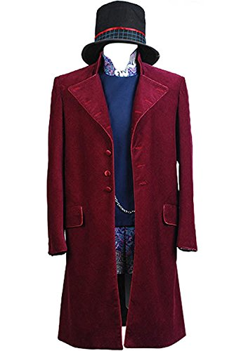 NoveltyBoy Willy Wonka Charlie and the Chocolate Factory Red Johnny Depp Purple Coat Jacket Nest Hat Set (Johnny Cash Costume)