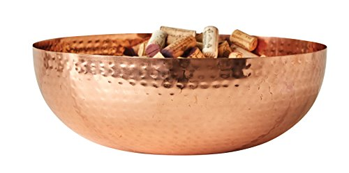 Creative Co-Op DA7390 Round Hammered Metal Bowl with Copper Finish, 14