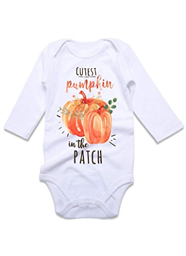 Loveternal Funny Baby Rompers for Newborn Girl Boy One Piece Outfit Romper 9-12 Month Clothes Bodysuit Halloween Cutest Pumpkin in The Patch White