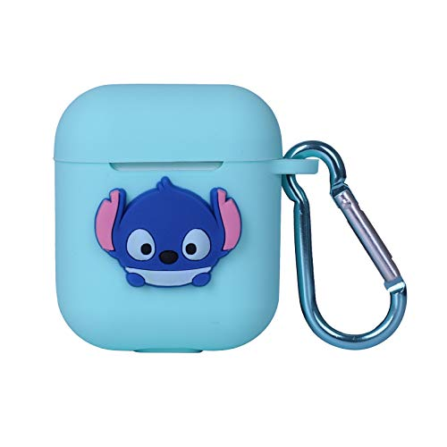 MODISH TECH Airpods Case Cover Fun Cartoon Design with Keychain | Protective Premium Silicone Anti-Lost Dust-Proof & Shock Resistant | Sky Blue Lilo