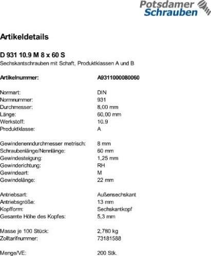 200 Sechskantschrauben DIN 931 10.9 schwarz M8x60