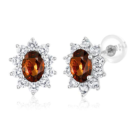 Gem Stone King 2.25 Ct Oval Brown Zircon White Created Sapphire White Gold Earrings