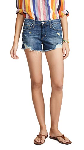Embroidered Woven Jeans - Joe's Jeans Women's Embroidered Cutoff Shorts, Jasmine, Blue, Floral, 24