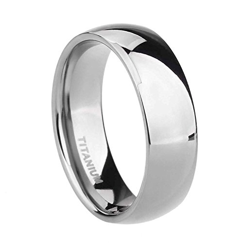 TIGRADE 2mm 4mm 6mm 8mm Titanium Ring Plain Dome High Polished Wedding Band Comfort Fit Size 4-15, 4mm, Silver, Size 10