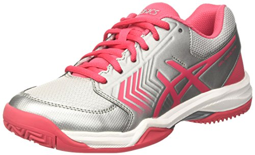 Asics Gel-Dedicate 5 Clay, Zapatillas de Tenis para Mujer Multicolor (Silver/rouge Red/white)