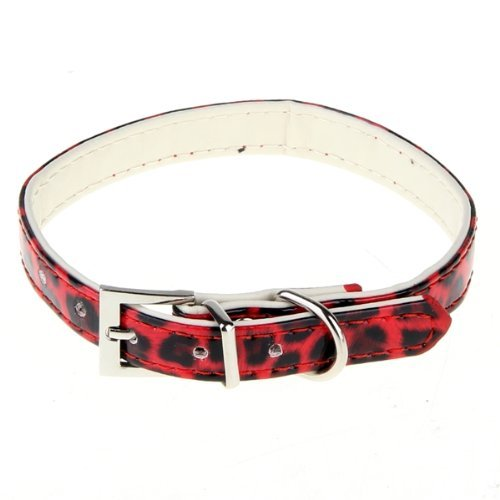TOOGOO (R) Collar ajustable en PU de cuero rojo leopardo para Perros Gatos talla XS