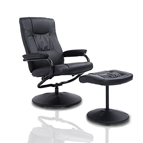 HomCom Ergonomic Faux Leather Lounge Armchair Recliner And Ottoman Set - - Ottoman Recliner And