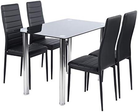 FURNITURE-R France - Juego de mesa y 4 sillas de comedor, color negro: Amazon.es: Hogar