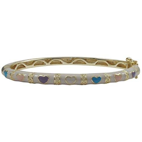 Ivy and Max Gold Finish White Enamel Multi-Color Hearts Girls Bangle Bracelet (57mm)