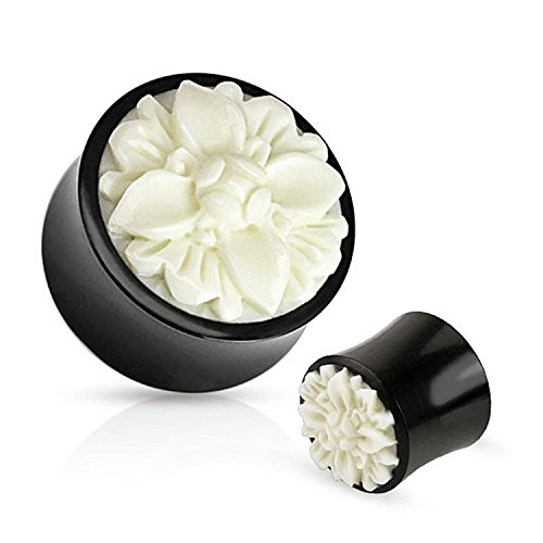 Flower Bloom White Carved Bone Inlay Organic Buffalo Horn Saddle Plugs (Sold as a Pair) (1