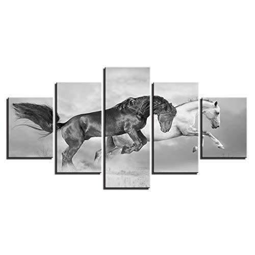 calidad auténtica Noframe Noframe Noframe 40x60 40x80 40x100cm BAIF 5 Piezas Lienzo de Pintura de Arte decoración del hogar Cuadro Modular de Parojo Cocheteles 5 Panel Negro blancoo Caballo salón Moderno HD D Pintura Lienzo Marco  cómodo