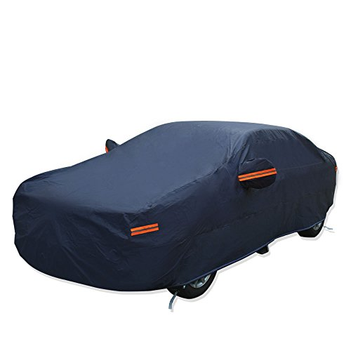 YITAMOTOR Waterproof All Weather Car Covers Breathable Full Sun UV Snow Rain Protection Dust Resistant Indoor Outdoor Car Protector- Fits up to 208 inches (Dark Blue) ()
