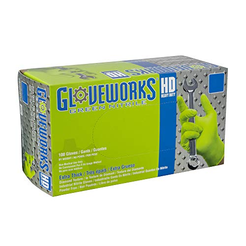 AMMEX - GWGN46100 - Nitrile Gloves - Gloveworks - HD, Disposable, Powder Free, 8 mil, Large, Green (Case of 1000) by Ammex (Image #5)