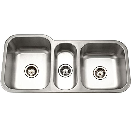 Houzer MGT-4120-1 Medallion Gourmet Series Undermount Stainless Steel Triple Bowl Kitchen Sink