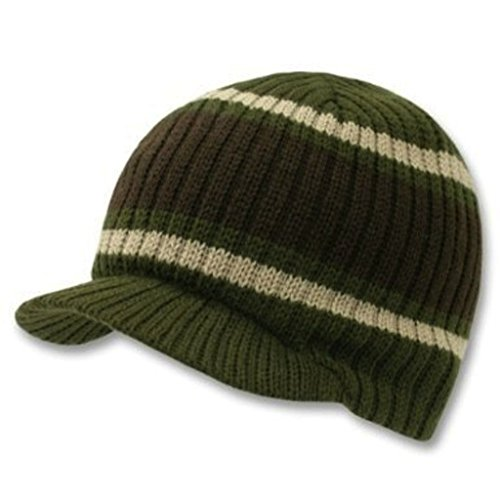 Decky Knit Visor Beanie Campus Jeep Cap (One Size, Striped Olive Green)