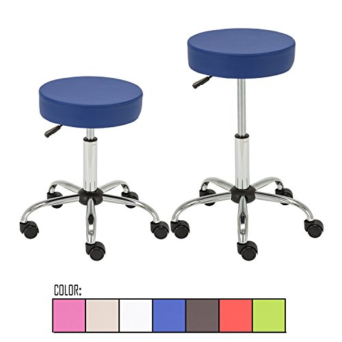 Price comparison product image FLOURISH OFFICE Contemporary Adjustable Synthetic Leather Swivel Kitchen Drafting Club Bar Stool Caressoft Medical Stool (Blue) Sets of 2