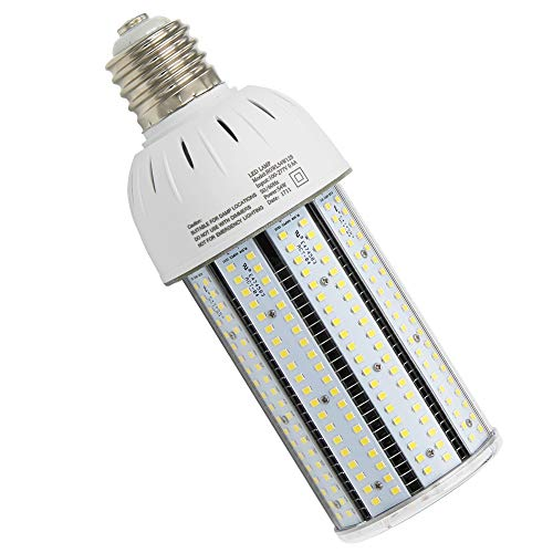 54 Watt LED Corn Lamp (Mogul E39 Base, 6575 Lm, 175W-200W Metal Halide Replacement) Parking Lot Area Light Retrofit Bulb, 6000K Cool White High Bay Shop Light