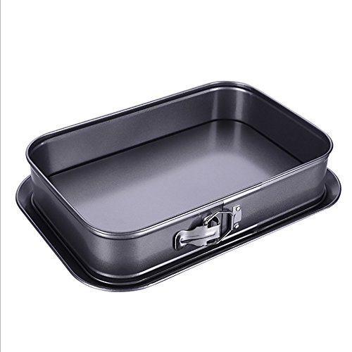 Non-Stick Cheesecake Pan, Springform Pan, Rectangle Cake Pan with Removable Bottom Leakproof and Quick Release Latch Bakeware 14 inches 9.3 inches 3 inches Black by ERYA