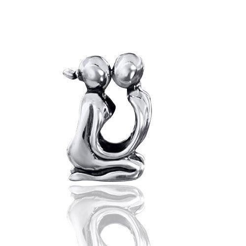 Element argent perles pour mariage couple beads bracelet amour/baiser perle européenne en argent sterling 925 massif aspect ancien style#1503 MATERIA by Matthias Wagner