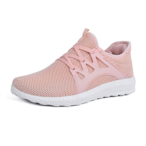 Mxson Womens Sneakers Ultra Lightweight Breathable Mesh Sport Gym Walking Shoes Pink 8B(M) US