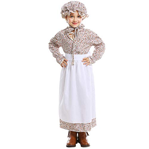 Pioneer Colonial Girls Costume Prairie Dress Renaissance Colonial Cosplay Kids Halloween Fancy Dress with Bonnet Hat Set (Floral Style, L) -