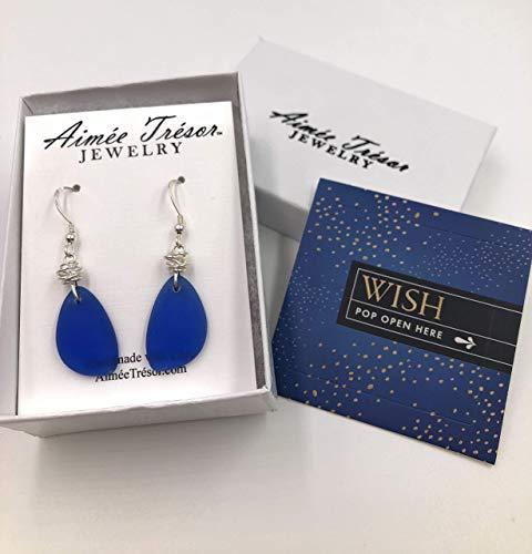 handwoven chain, colbalt blue beach glass Long sterling silver earrings