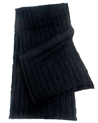 Pure Cashmere Cable Knit Scarf - Black Cashmere Knit Scarf