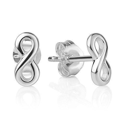 Earrings Infinity Knot - 925 Sterling Silver Tiny Classic Infinity Eternity Endless Love Symbol 8 mm Post Stud Earrings