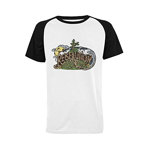 Wihuae Men's Rebelution Band Short Sleeve Raglan T-shirt (USA Size) L (Band Rebelution)