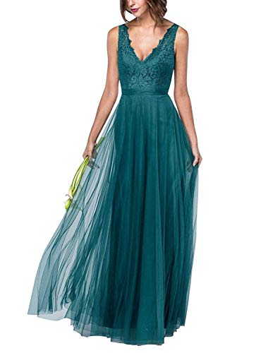 (Beiqian Womens V Neck Lace Bridesmaid Dress Long Formal Evening Wedding Gown (Teal,6))