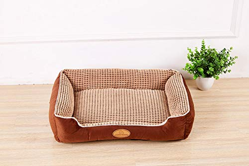 Large Dog Beds Sofas Corn Velvet Detachable Cat Bed House Washable Dog Mat Kennel for Pug Pitbull, Coffee,L