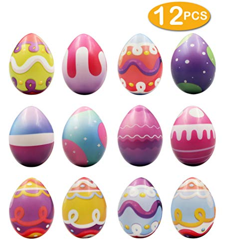heytech 12 PCS Easter Eggs Hunt Squishies Toys Slow Rising 2.25 Inches Bright Colorful Surprise Eggs Party Favor Gifts For -
