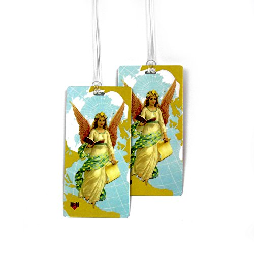 Luggage Tags - Bag Tag Name ID Set for Suitcase, Baggage, with Colorful Travel Designs by 11:11 (Guardian Angel 2 PC)