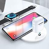 Edtara 3 en 1 Cargador inalámbrico para iPhone X XR XS MAX/Watch/AirPods Mobile Phone, Cargador Multifuncional Carga rápida para Samsung