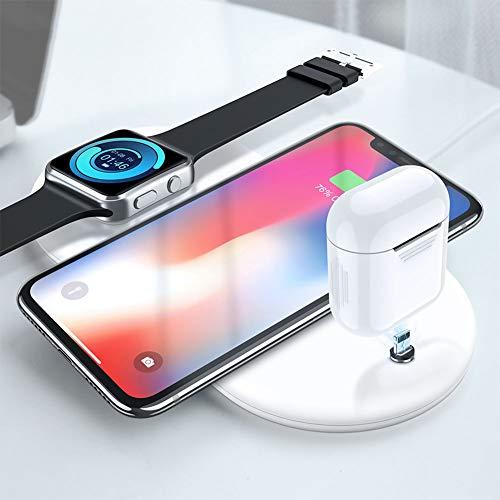 XuBa 3 en 1 Cargador Inalámbrico de Móvil Teléfono de Carga Rápida para iPhone X XR XS MAX Watch Airpods Samsung Blanco