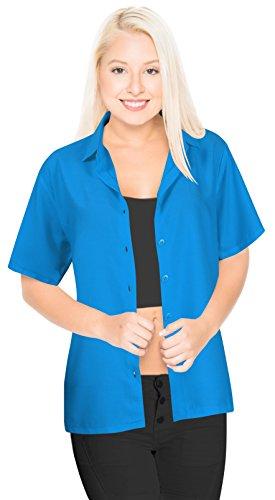 LA LEELA Rayon Casual Button Down Aloha Shirt Teal Blue 735|XXL - US 44 - 48C