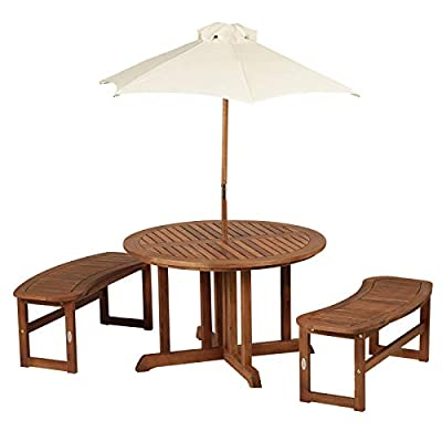 Outsunny 4-Piece Kids Outdoor Patio Table and Bench Set Acacia Wood with Umbrella: Garden & Outdoor