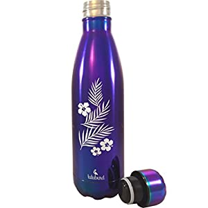 Reusable Stainless Steel Water Bottle, Double Wall Vacuum Insulated Tumbler, Back to School Thermos, 17 oz (Metallic Purple)
