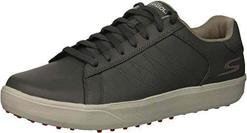Skechers Men's Drive 4 Golf Shoe, Charcoal/red, 10.5 W US (Best Spikeless Golf Shoes For Walking)