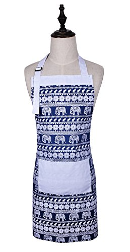 Love Potato Cute Elephant Printed Pattern Women Funny Kitchen Cooking Apron Adjustable Neck Strap & Waist Ties, Baking Apron Large Front Pocket, 100% Cotton, Machine Washable (Blue)