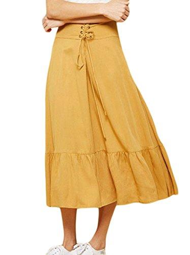 Ajoure Midi de Fox Plisse Elegante Mode Femmes Plage Jupe Jupe t Bal Jupes Fr de Jaune avec Bandage ulein Fte w4qIAz