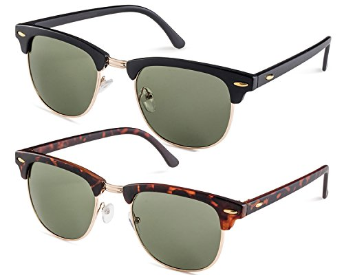 Matte Black Frame/Green Lens and Matte Havana Frame/Green Lens - Men For Clubmaster